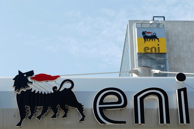 The logo of Italian energy company Eni is seen at a gas station in Rome, Italy September 30, 2018. (Reuters Photo)