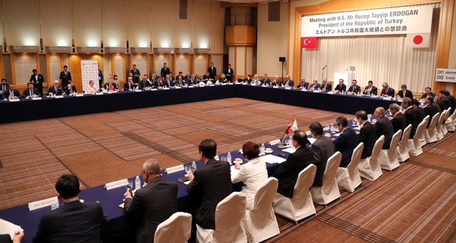 President Recep Tayyip Erdoğan and Turkish ministers attend the Turkish-Japanese businesspeople meeting organized by Turkey's Foreign Economic Relations Board (DEİK) and the Japanese Business Federation in Tokyo, July 1, 2019.