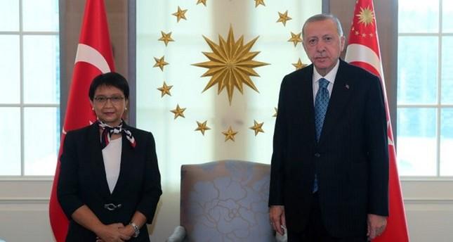 أردوغان يلتقي وزيرة الخارجية الإندونيسية في أنقرة