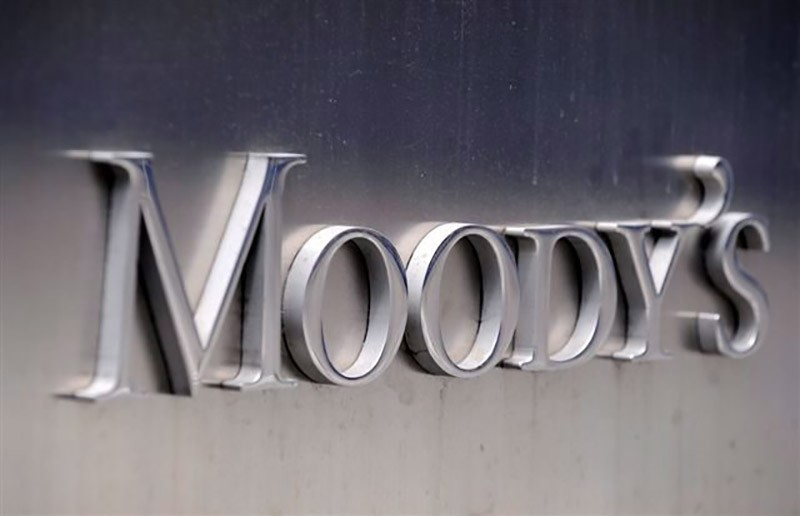 A file picture dated 13 July 2011 shows the Moody's logo outside the offices of Moody's Corporation in New York, New York, USA. (EPA Photo)