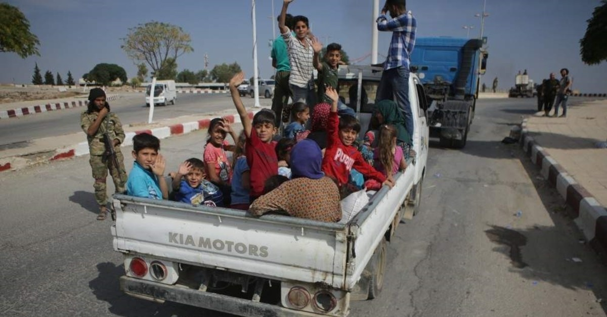 Civilians, who had to flee their hometown, are returning to Tal Abyad after terrorist groups were cleared from the region, Oct. 16, 2019.