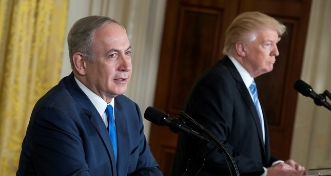 Israeli Prime Minister Benjamin Netanyahu (L), with US President Donald J. Trump (R), responds to a question from the news media during a joint press conference in the East Room in of White House in Washington, DC, USA, 15 February 2017. (EPA Photo)