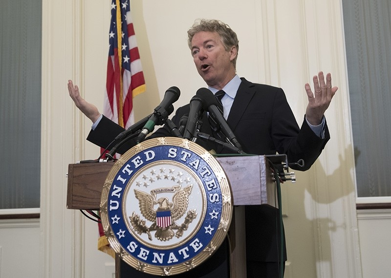 Sen. Rand Paul, R-Ky., tells reporters he plans to oppose President Trump's nomination of CIA Deputy Director Gina Haspel to lead the spy agency, during a news conference at the Capitol in Washington, Wednesday, March 14, 2018. (AP Photo)