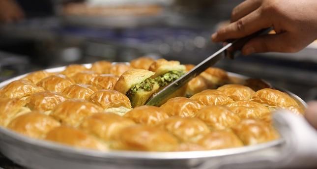 Gaziantep's world famous dessert dish, pistachio baklava.