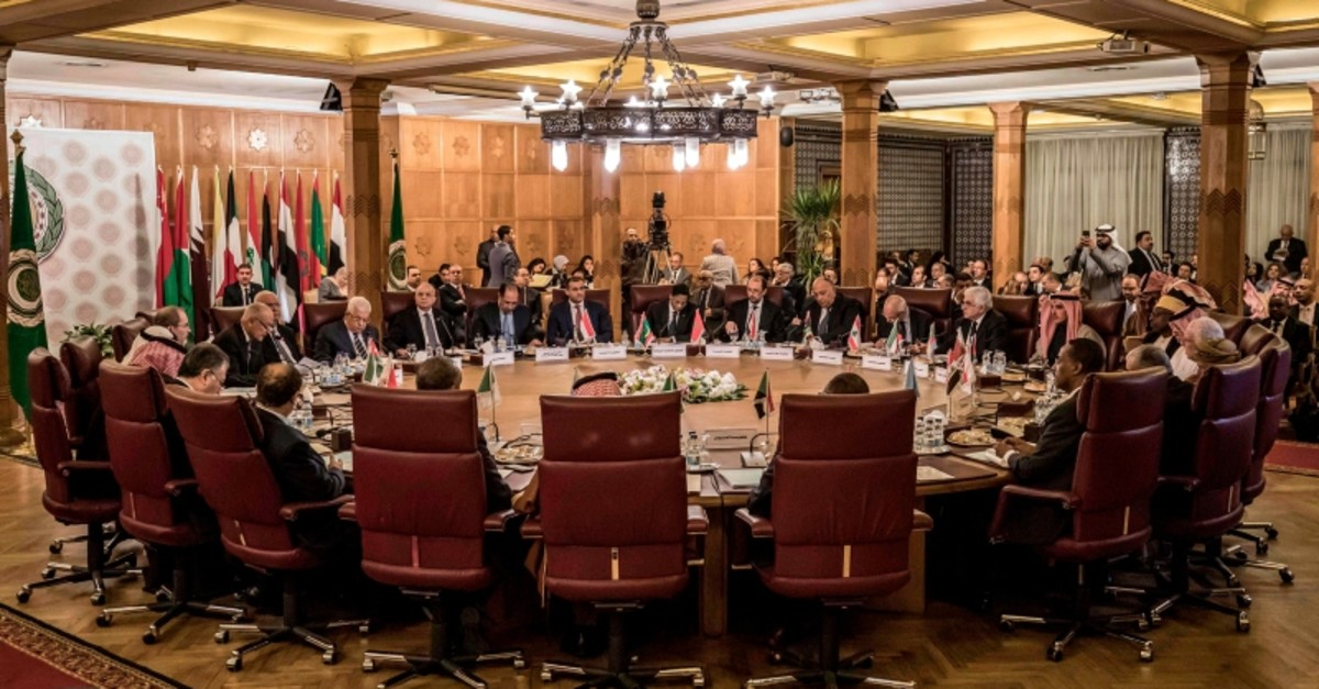 This picture taken on February 1, 2020 shows a view at an Arab League emergency meeting discussing the US-brokered proposal for a settlement of the Middle East conflict, at the league headquarters in the Egyptian capital Cairo. (AFP Photo)