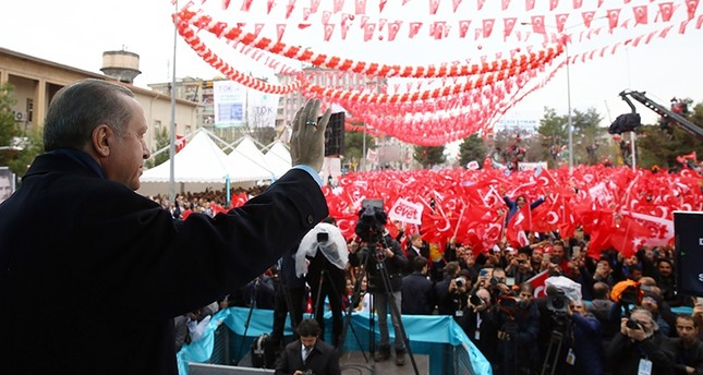 President Erdoğan seen waving at supporters his hand during an inauguration ceremony in the predominantly Kurdish southeastern city of Diyarbakır, Turkey, March 30. (AA Photo)