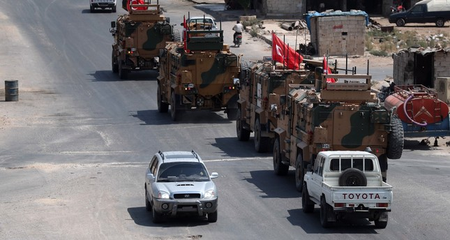 Turkish military vehicles passing through the town of Saraqib in the northwestern Idlib province, Aug. 29, 2019.