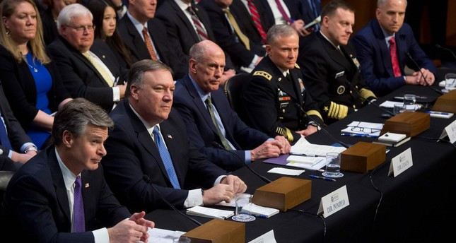 Top U.S. intelligence officials testify on worldwide threats during a Senate Intelligence Committee hearing on Capitol Hill in Washington, DC, February 13, 2018. (AFP Photo)