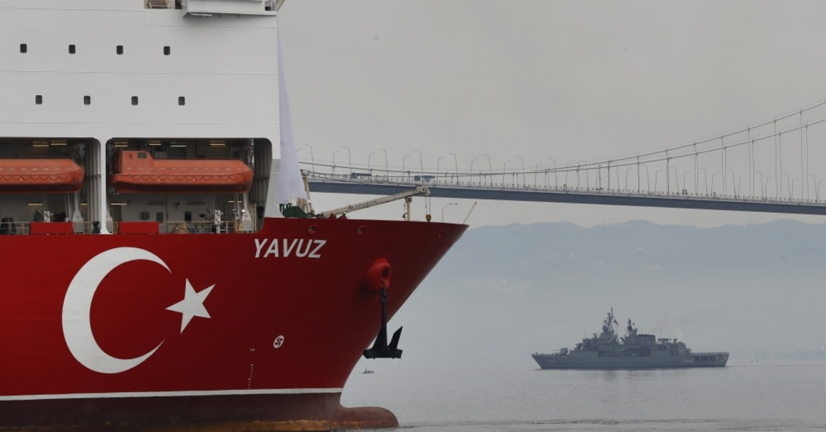 The second drilling vessel Yavuz escorted by a Turkish Navy vessel crosses the Marmara Sea on its way to the Mediterranean, from the port of Dilovasu0131, outside Istanbul, June 20, 2019.