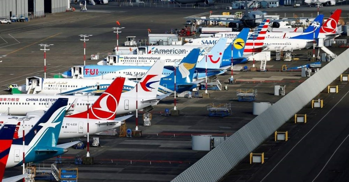 An aerial photo shows several Boeing 737 Max airplanes grounded at Boeing Field in Seattle, Washington, U.S., March 21, 2019. (REUTERS File Photo)
