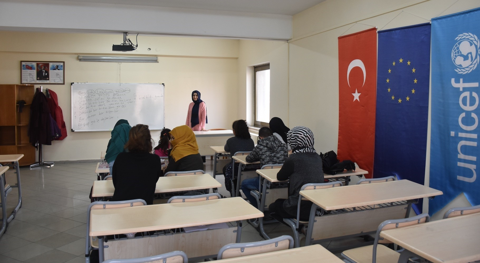 Syrian and Iraqi children attend a class in Mamak, Ankara on Jan. 20, 2019.