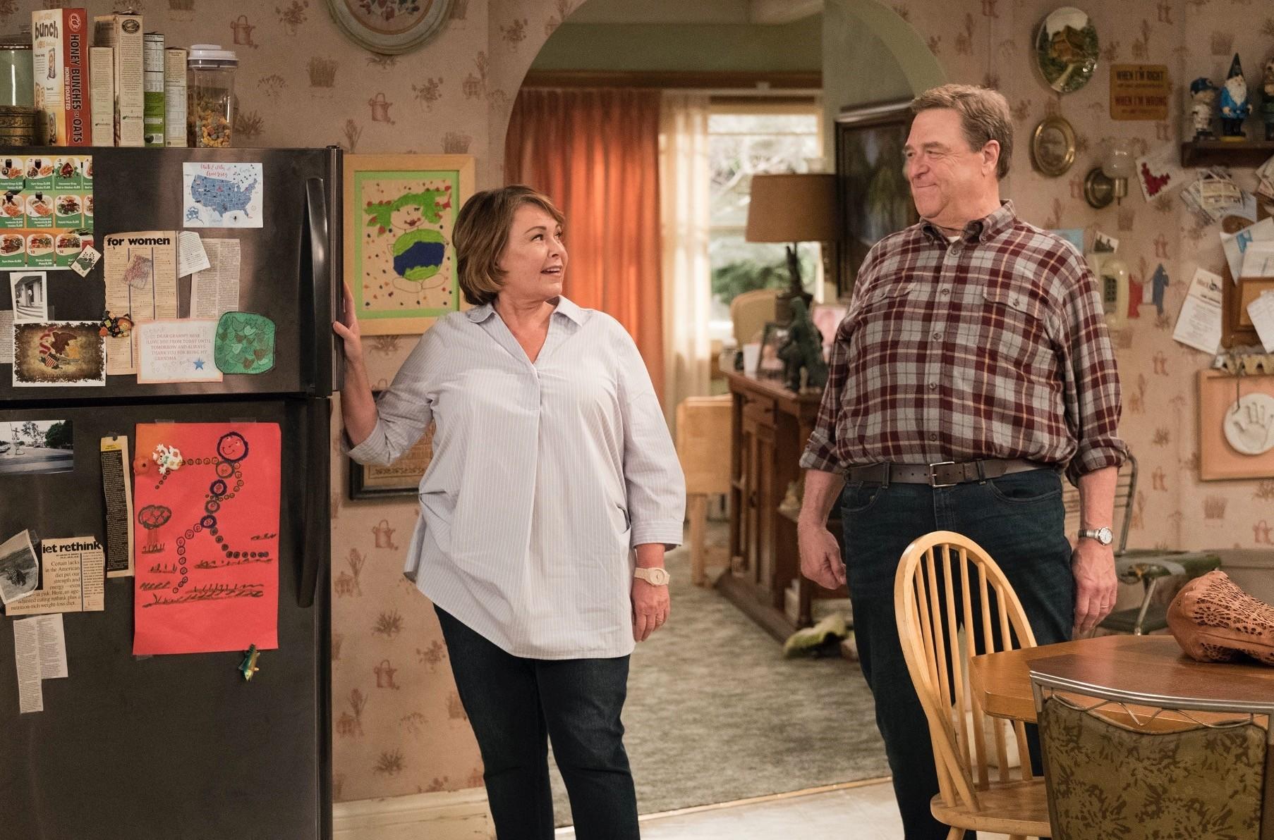 Roseanne Barr (L) and John Goodman appear in a scene from u201cRoseanne.u201d The show was canceled after Barru2019s racist tweet.