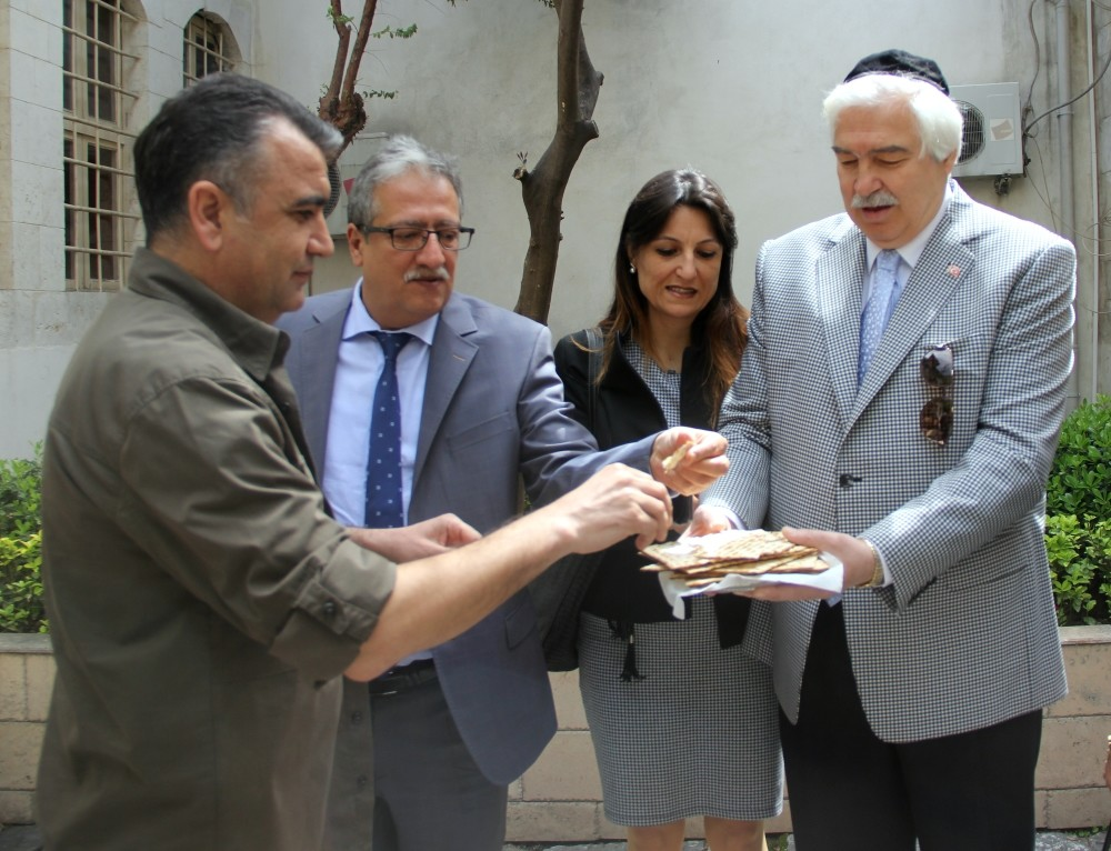 Local Jews served unleavened bread to guests at an event to mark Passover in the southern city of Hatay.