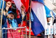 متظاهرون ضد القمع الصيني لمسلمي الأويغور (الأناضول)