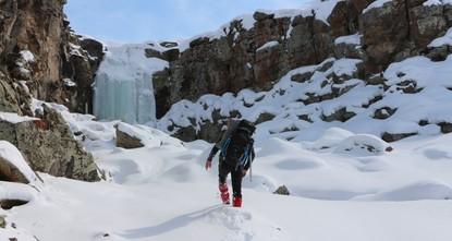 Frozen falls prime spot for ice climbing in e. Turkey
