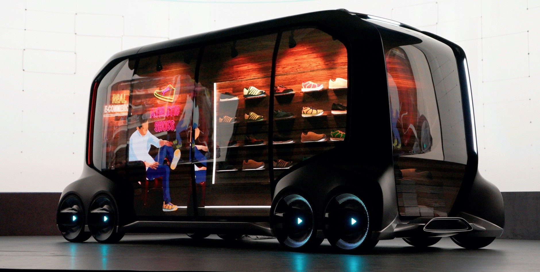 Toyota Motor Corporation displays the u2018e-Paletteu2019, a new, fully self-driving, electric concept vehicle designed to be used for ride hailing, parcel delivery services and other uses at CES in Las Vegas.