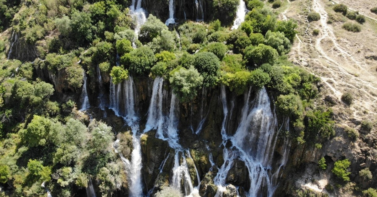 Girlevik Waterfall is located in the foothills of the Munzur Mountains.