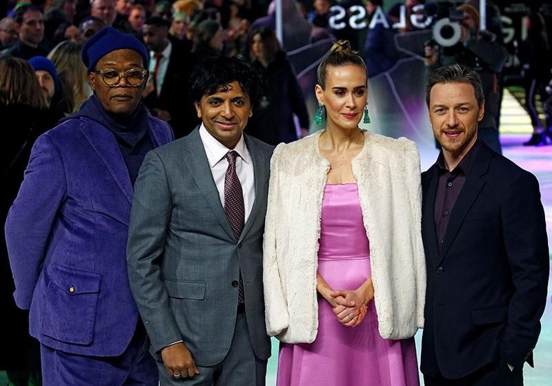 Actors Samuel L. Jackson, Sarah Paulson, James McAvoy and director M. Night Shyamalan attend the European premiere of ,Glass, in London, Britain, Jan. 9, 2019 (Reuters Photo)
