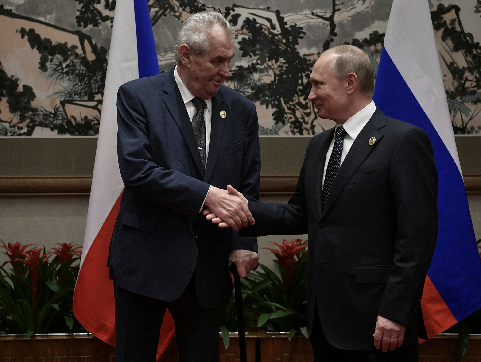 Russian President Vladimir Putin (R) meets with Czech Republic's President Milos Zeman (L) during the Belt and Road Forum (BRF) in Beijing, China, 14 May 2017. (Photo by EPA via Kremlin)