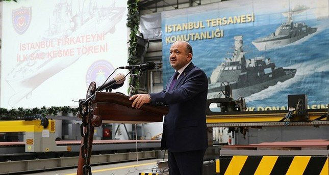 Defense Minister Fikri Işık speaks during the first welding ceremony of Istanbul frigate. IHA Photo