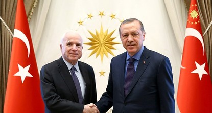 pSenior Republican U.S. Senator John McCain was received by President Recep Tayyip Erdoğan on Monday in Ankara where the fight against Daesh was discussed as well as developments in the...