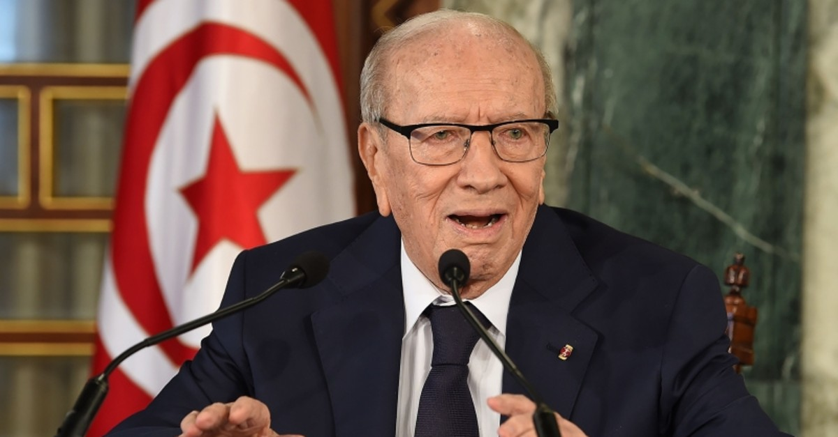 A file photo taken on November 8, 2018 shows Tunisian President Beji Caid Essebsi giving a press conference in Carthage Palace near Tunis concerning the cabinet reshuffle. (AFP Photo)
