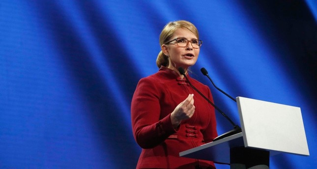 Ukrainian opposition politician Yulia Tymoshenko delivers a speech during a congress of Batkivshchyna (Fatherland) party in Kiev, Ukraine, Jan. 22, 2019. (Reuters Photo)