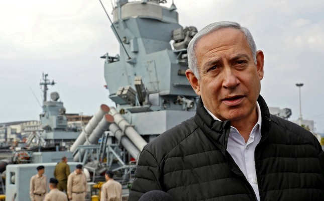 Israeli Prime Minister Benjamin Netanyahu gives a statement during his visit to a navy base in Haifa, Israel, February 12, 2019. (Reuters Photo)