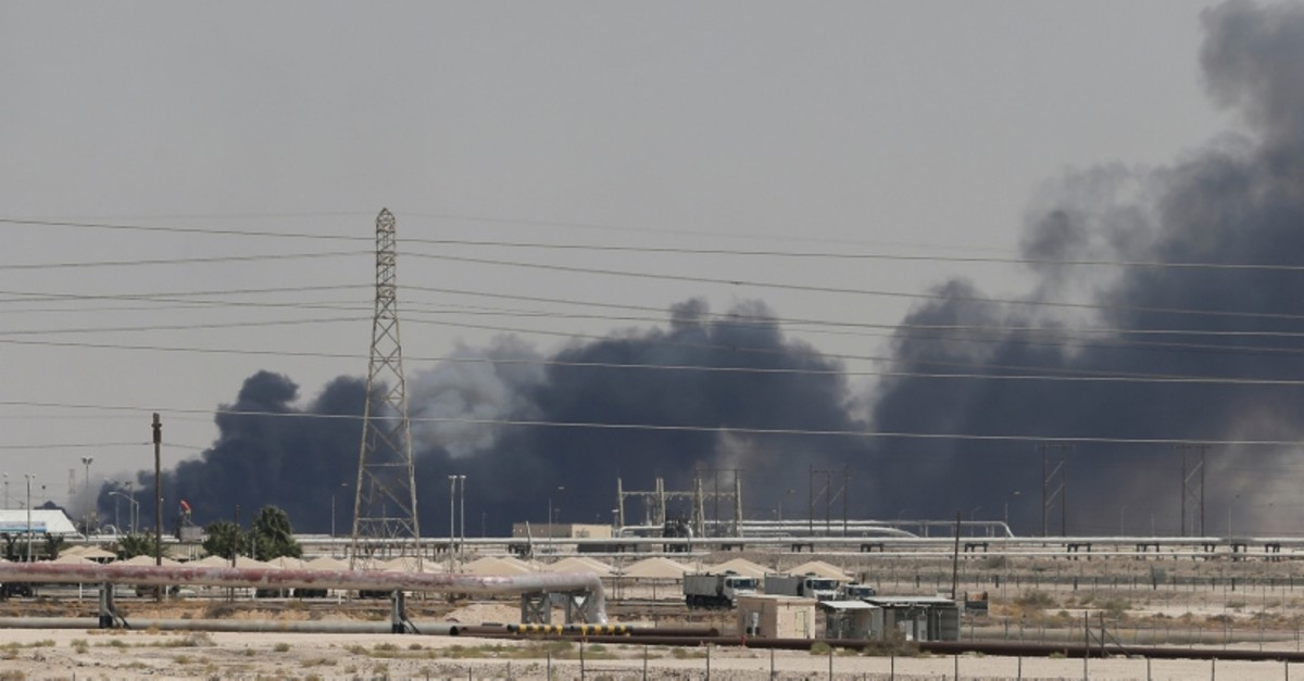 Smoke is seen following a fire at Aramco facility in the eastern city of Abqaiq, Saudi Arabia, September 14, 2019. (Reuters Photo)