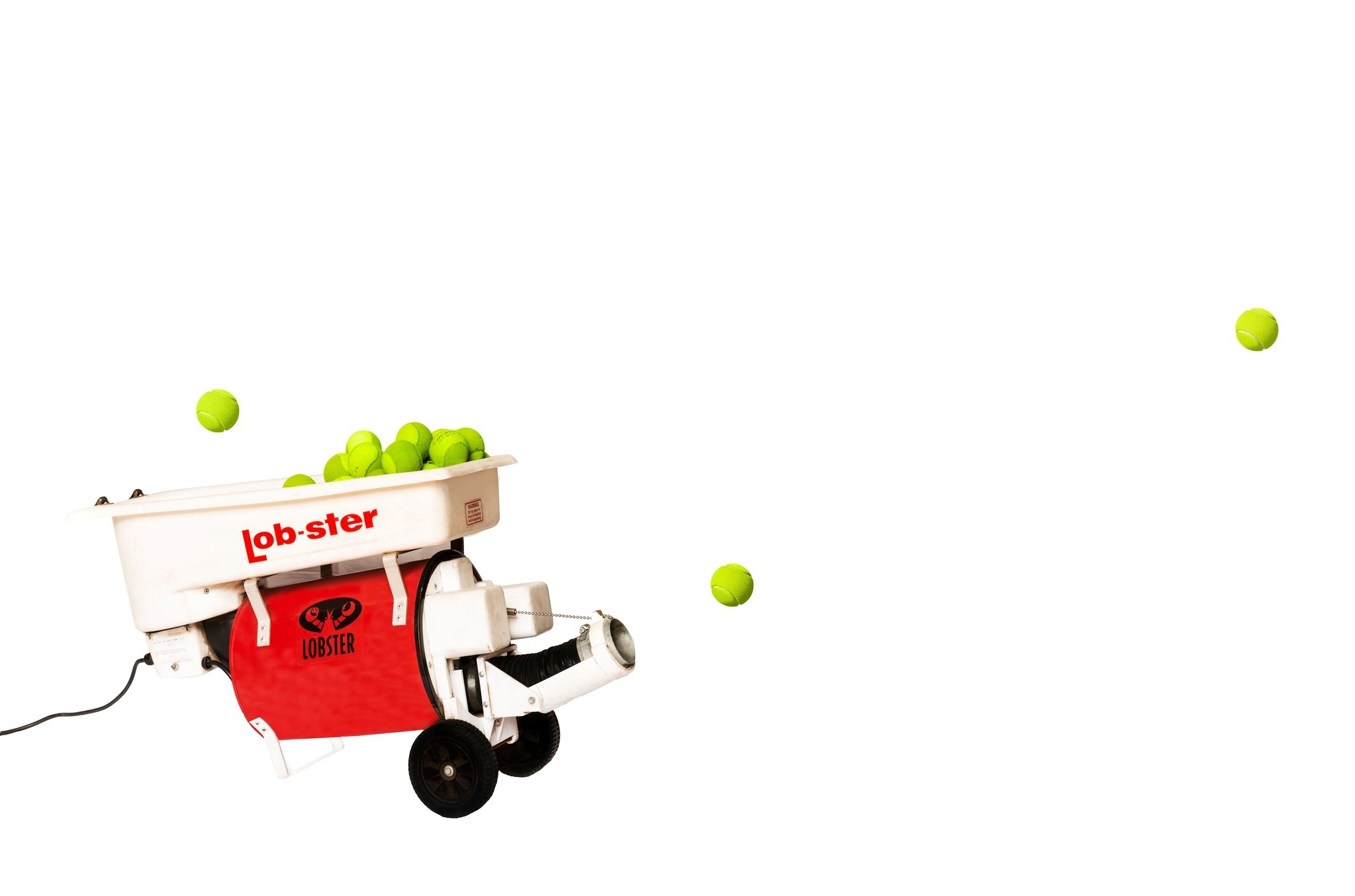 The tennis ball machine in which the ball returns again after shooting and other works aim to criticize the hierarchical system ironically.