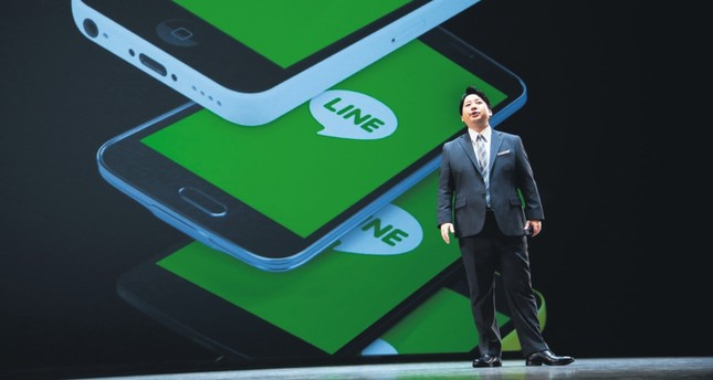 Line Corp. Chief Strategy and Marketing Officer Jun Masuda speaks during a press conference of Line Conference Tokyo.