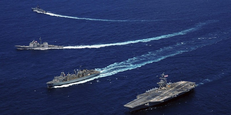 Aerial view of a U.S. aircraft carrier. (File Photo)