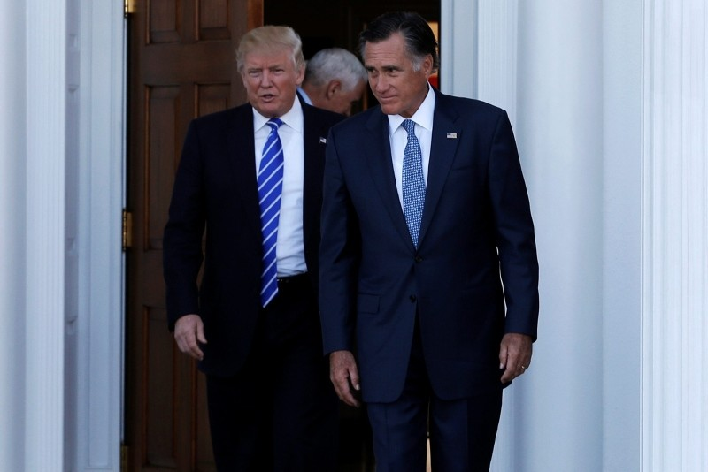 U.S. President-elect Donald Trump (L) and former Massachusetts Governor Mitt Romney emerge after their meeting at the main clubhouse at Trump National Golf Club in Bedminster, New Jersey, U.S., Nov. 19, 2016. (Reuters Photo)