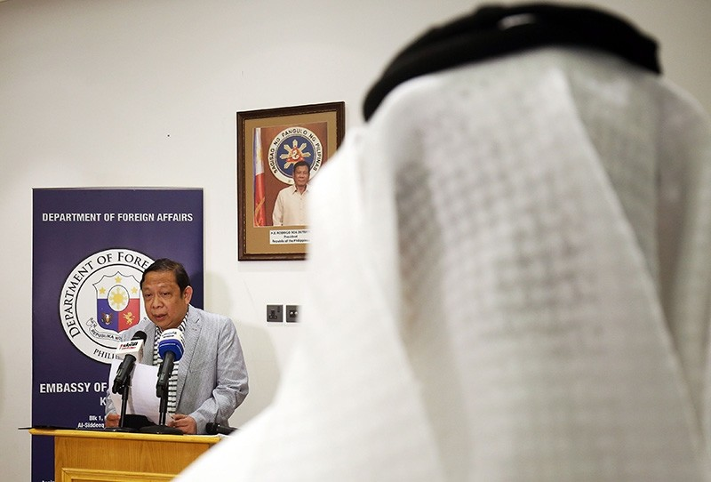 Filippino Ambassador in Kuwait Renato PO Villa speaks during a press conference at the Philippines embassy in Kuwait City on April 21, 2018. (AFP Photo)