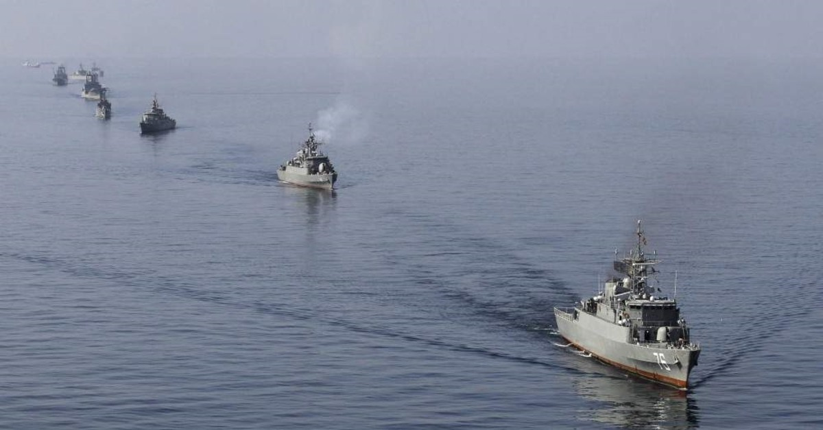 This Jan. 3, 2012, file photo shows Iranian naval ships taking part in a naval parade on the last day of the Velayat-90 war games in the Sea of Oman near the Strait of Hormuz off southern Iran. (Reuters Photo)