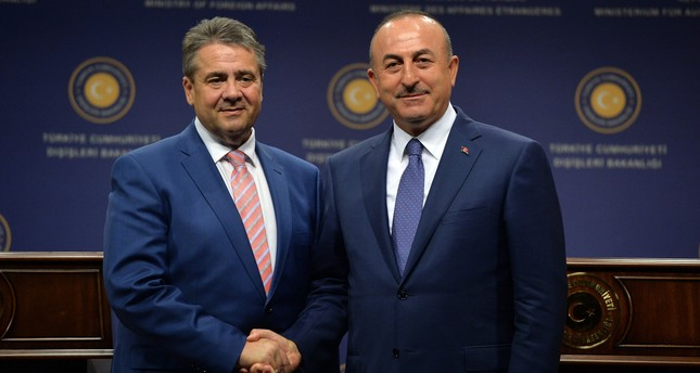 FM Çavuşoğlu and his German counterpart Gabriel pose after holding a joint press conference in Ankara on June 5, 2017. (FILE Photo)
