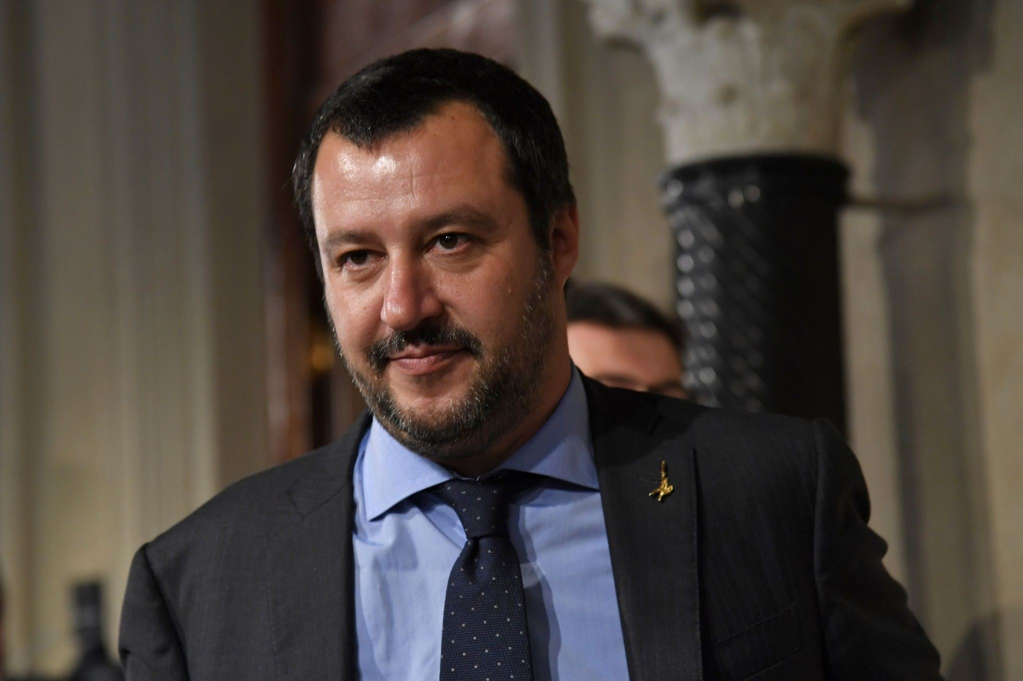 Matteo Salvini, leader of the far-right party ,Lega, (League) speaks to the press at the Quirinale palace, Rome,  May 14.