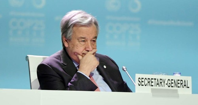 In this file photo taken on December 11, 2019 Secretary-General of the United Nations Antonio Guterres takes part in the Global Climate Action High-Level event at the UN Climate Change Conference COP25 at the 'IFEMA - Feria de Madrid' exhibition centre, in Madrid. AFP Photo