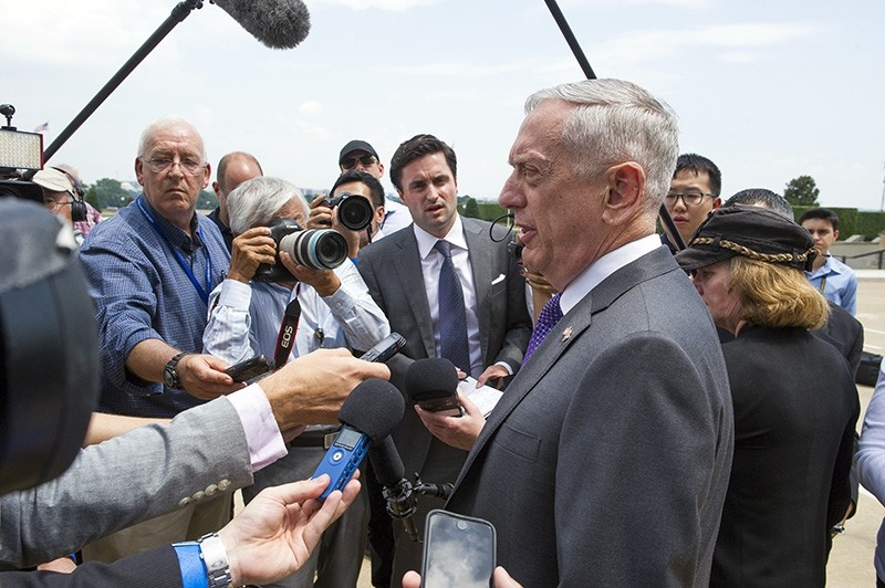 U.S. Secretary of Defense Jim Mattis speaks with reporters before welcoming U.K. Secretary of State for Defense Gavin Williamson to the Pentagon for meetings, Tuesday, Aug. 7, 2018. (AP Photo)