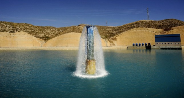 Fresh water pumped into a reservoir after being treated at a desalination plant in Carboneras, near Almeria, southern Spain.
