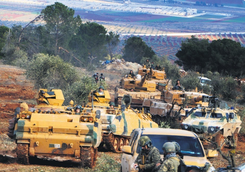 Turkish troops take control of Mt. Barsaya from YPG terrorists in Operation Olive Branch, Azaz, Jan. 28.