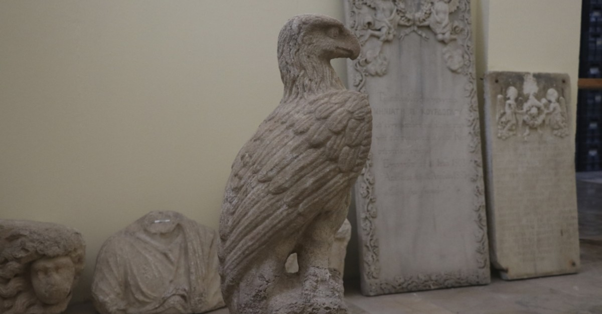 The two eagle statues were uncovered in the pits at a square close to a 2,100 year-old Hellenistic temple discovered last year.