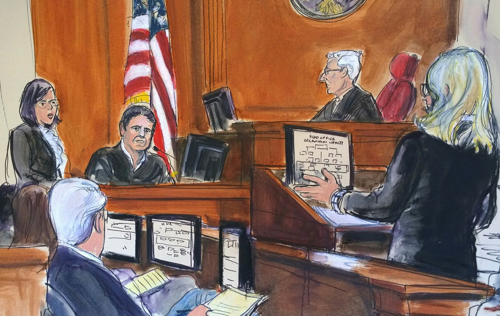 In this courtroom artist's sketch, Mehmet Atilla, second from left, testifies in his trial while Berman, second from right, listens, Friday, Dec. 15, 2017 in New York. (Elizabeth Williams via AP)