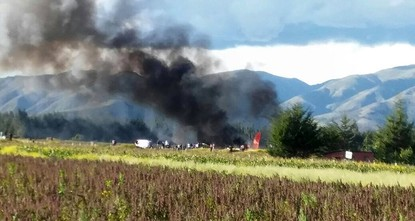 pA plane with 141 people on board went up in flames on Tuesday after crash landing at an airport in the central Peruvian town of Jauja, local media reported./p