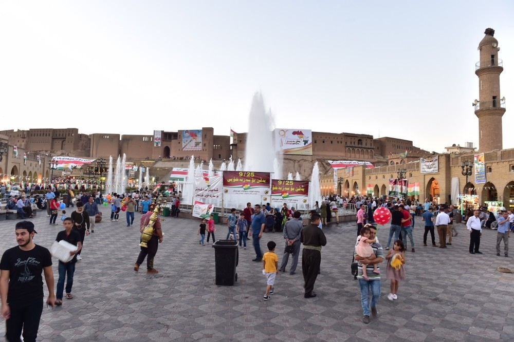 Locals in Irbil seen at a square in the city ahead of the KRG's referendum, which is set to take place today.
