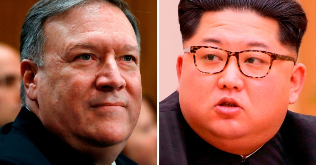 U.S. Secretary of State Mike Pompeo traveled to North Korea in April last year to meet with leader Kim Jong Un (R). (AP Photo)