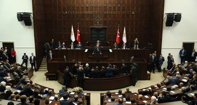 President Recep Tayyip Erdoğan addresses members of the AK Party for the first time as the party head after the constitutional April referendum, Tuesday.
