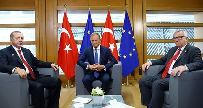 pPresident Recep Tayyip Erdoğan met with newly elected French President Emmanuel Macron, and European officials on the sidelines of a NATO summit, in which he is expected to seek more support from...