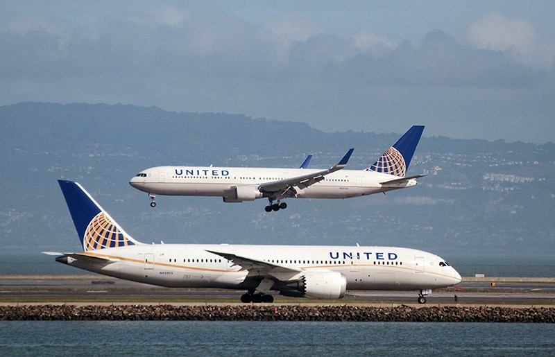 A United Airlines Boeing 787 taxis as a United Airlines Boeing 767 lands at San Francisco International Airport, San Francisco, California, U.S. (Reuters Photo)