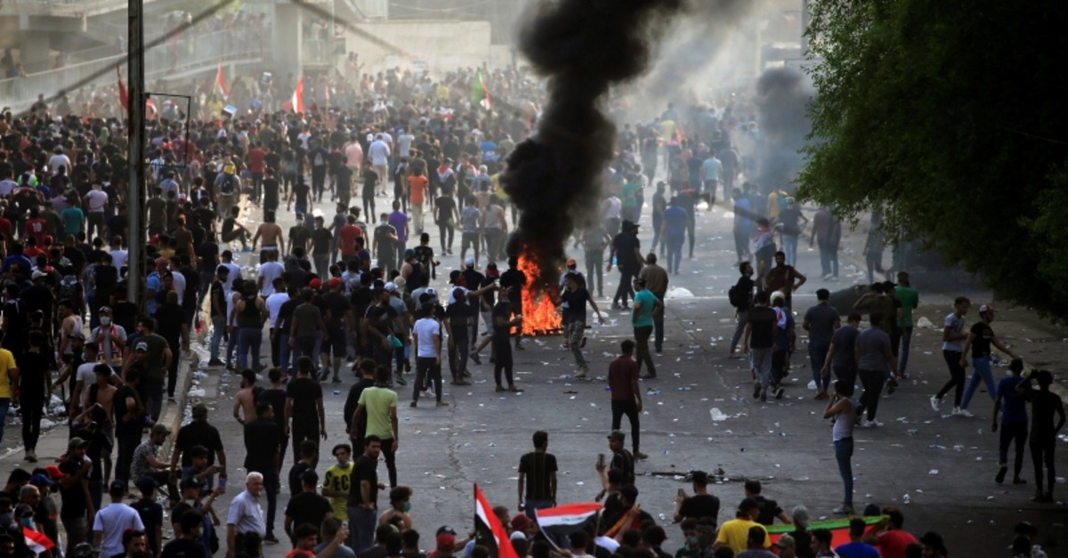Demonstrators gather as they take part in a protest over unemployment, corruption and poor public services, in Baghdad, Iraq Oct. 2, 2019 (Reuters Photo)